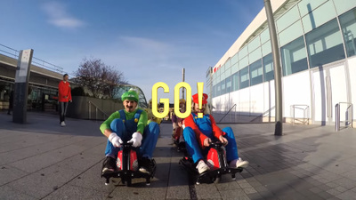 Watch some real-life Mario Kart mayhem at a local mall