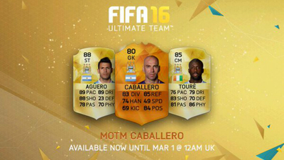 FIFA 16 FUT: Manchester City's Willy Caballero gets MOTM card / https://twitter.com/EASPORTSFIFA/status/704093748242698241/photo/1?ref_src=twsrc%5Etfw