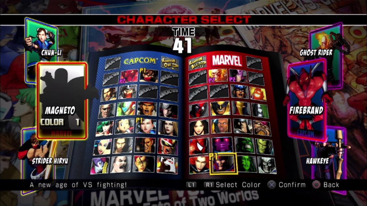 Ultimate Marvel vs. Capcom Character Selection Screen