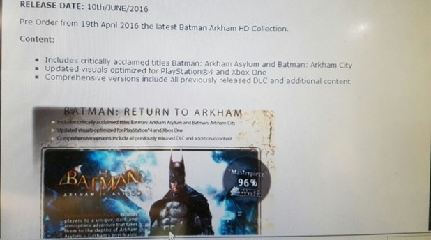 Batman Arkham HD Collection Revealed, Launches on June 10