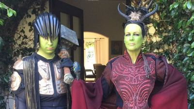 Jamie Lee Curtis went as an Orc to Los Angeles Warcraft premiere