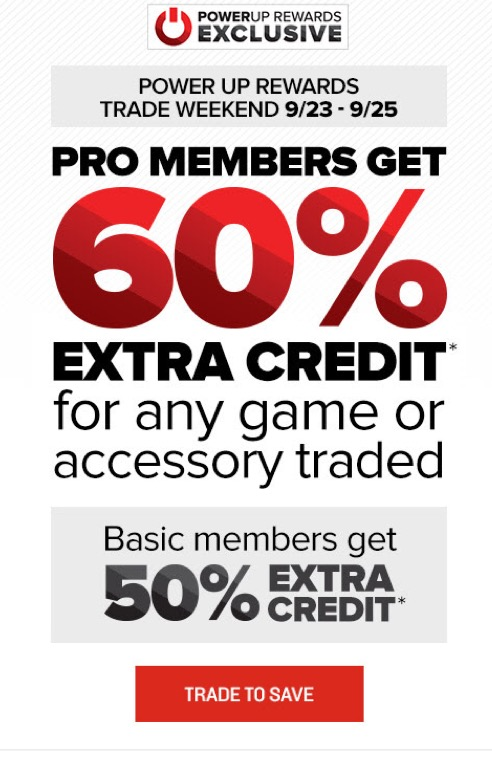 Gamestop system trade in credit