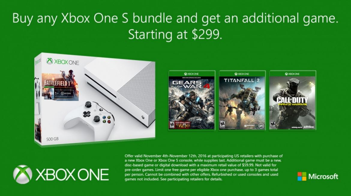 You can get an additional free game if you buy any xbox one bundle