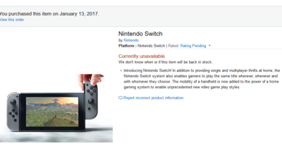 Amazon sells out of Nintendo Switch stock in less than two hours