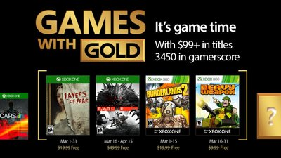 March 2017 'Games with Gold' titles for Xbox One, 360 revealed