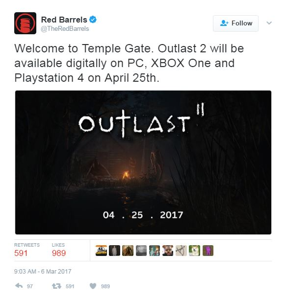 Survival horror Outlast 2 out-at-last two ways in April