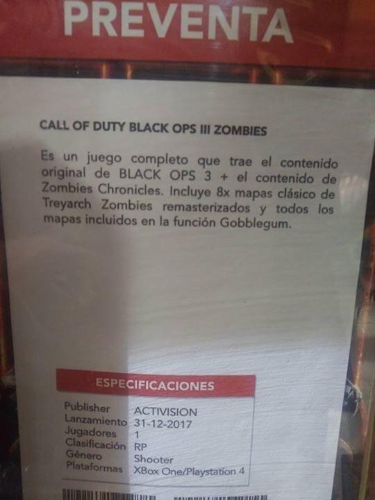 Rumor: Retailer lists new Zombies only Call of Duty: Black Ops 3 DLC; 8 remastered maps