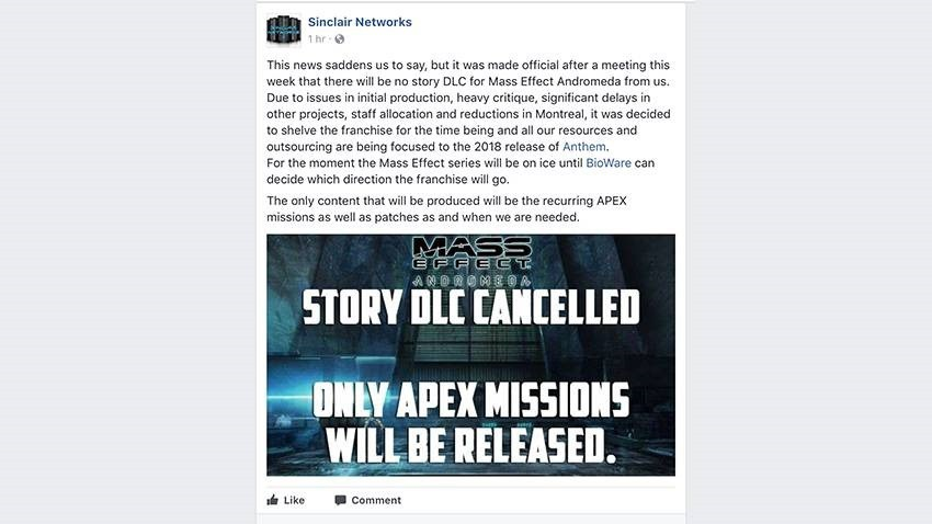 Andromeda will not get story DLC - anon