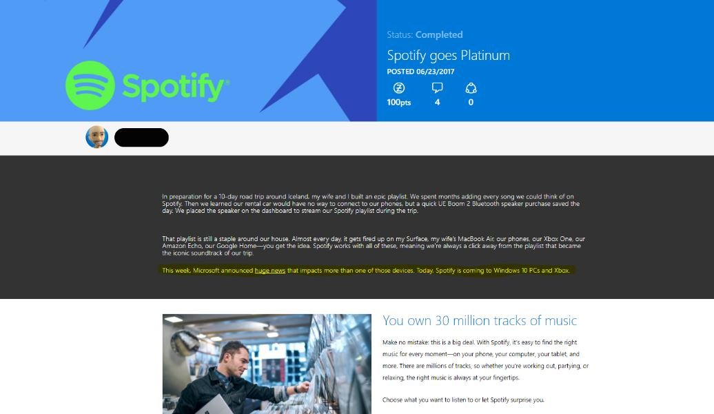 Xbox One Spotify App listing appears on Microsoft Store