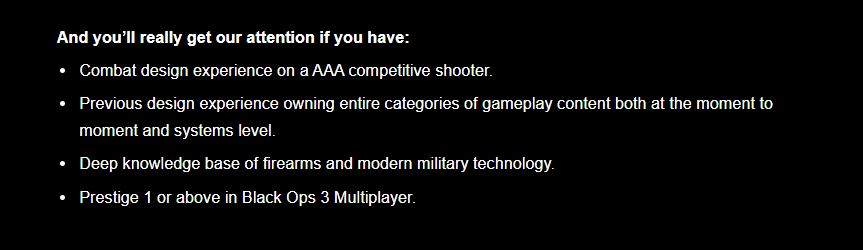 """New job listing points to Treyarch developing a """"Modern"""" Call of Duty game"""