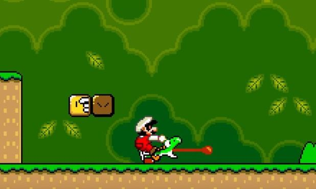 Mario was originally punching his companion Yoshi in Super Mario World