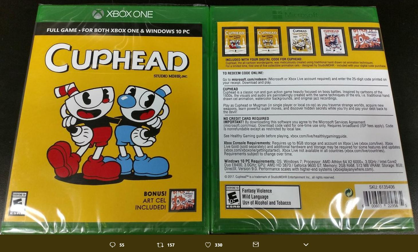 Cuphead will release a boxed version that contains a digital code