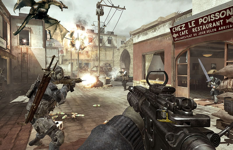Skryim dragon and Call of Duty: Modern Warfare 3
