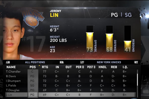 Jeremy Lin NBA 2K12 ratings
