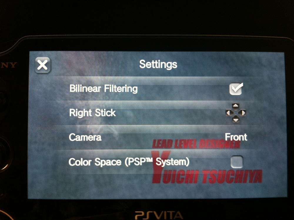 PS Vita settings