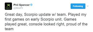 Phil Spencer gives his reaction to playing first games on Scorpio